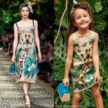 Dolce & Gabbana Girls Mini Me Beige Linen Giraffe Runway Dress
