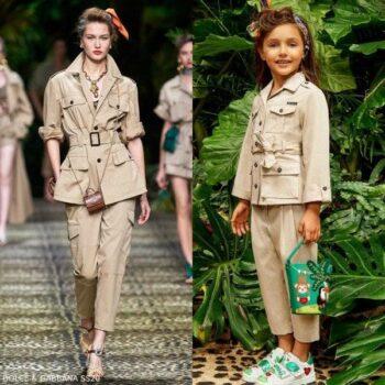 Dolce & Gabbana Girls Mini Me Beige Safari Jacket & Pants