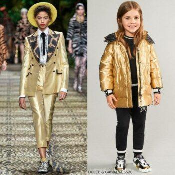 Dolce & Gabbana Girls Mini Me Gold Millennials Star Down Coat