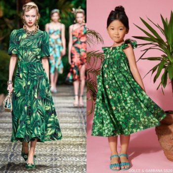 Dolce & Gabbana Girls Mini Me Green Clover Print Runway Dress