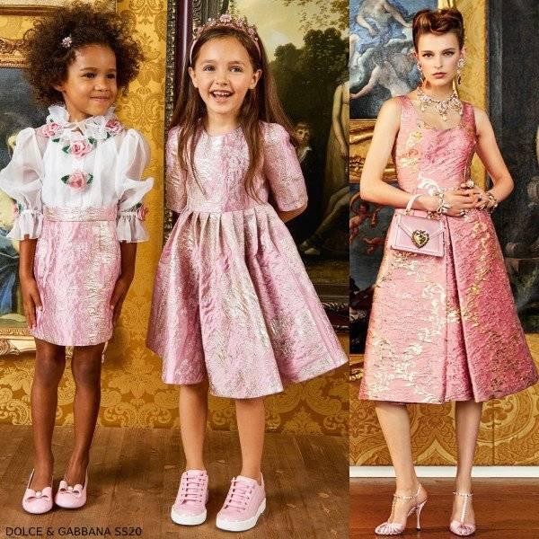 Dolce & Gabbana Girls Mini Me Pink Brocade & White Silk Flower Dress