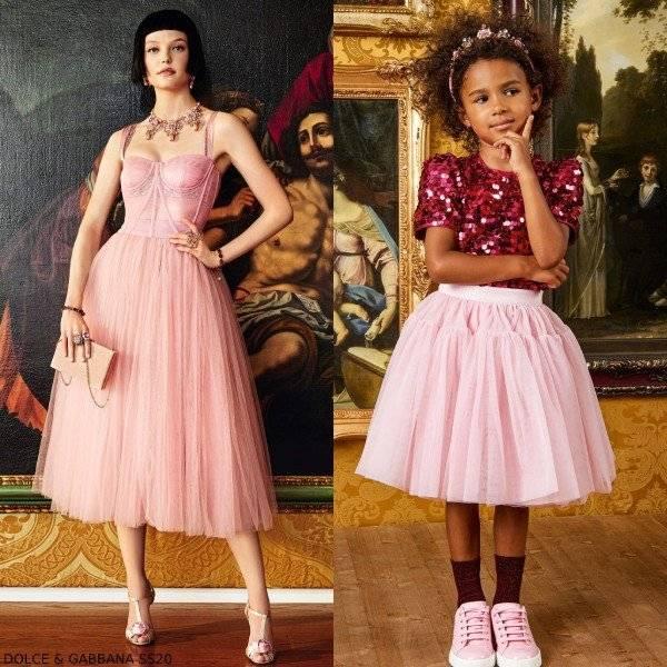 Dolce & Gabbana Girls Mini Me Pink Tulle Tutu Skirt Pink Sequin Shirt