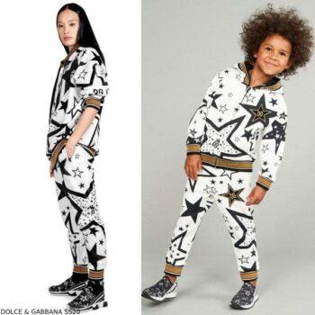 Dolce & Gabbana Girls Mini Me White Black Gold Millennials Star Tracksuit