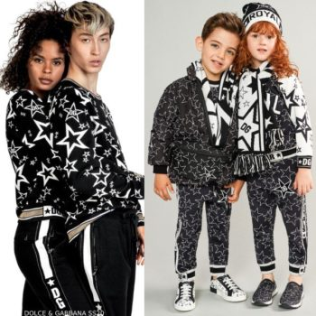 Dolce & Gabbana Kids Mini Me Black & White Millennials Star Jacket & Joggers
