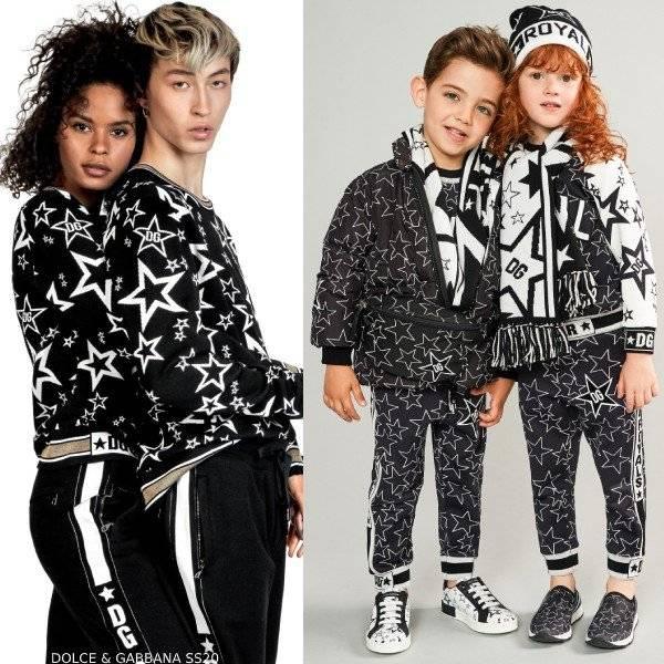 Dolce & Gabbana Kids Mini Me Black & White Millennials Star Jacket & Joggers