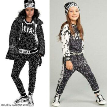Dolce & Gabbana Kids Mini Me Black & White Millennials Star Sweatshirt Joggers