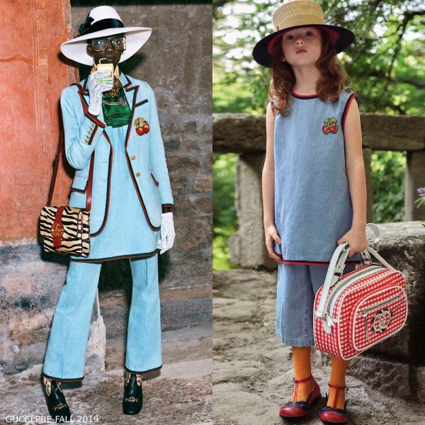Gucci Girls Mini Me Blue Denim Strawberry Patch Dress