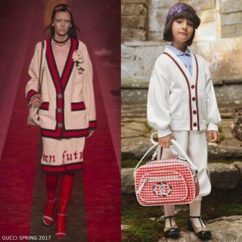 Gucci Girls Mini Me White Cardigan Red Button Trim