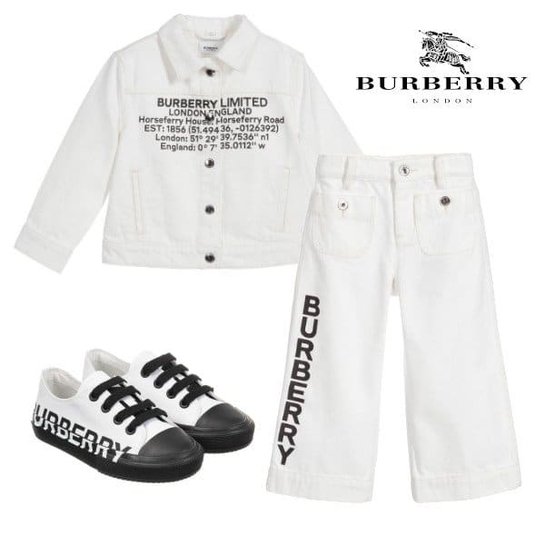 Burberry Girls White Logo Denim Jacket Jeans Shoes
