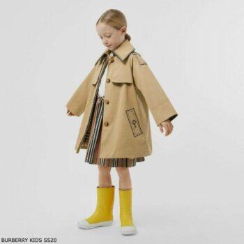 Burberry Kids Beige Trompe L'Oeil Cotton Swing Trench Coat