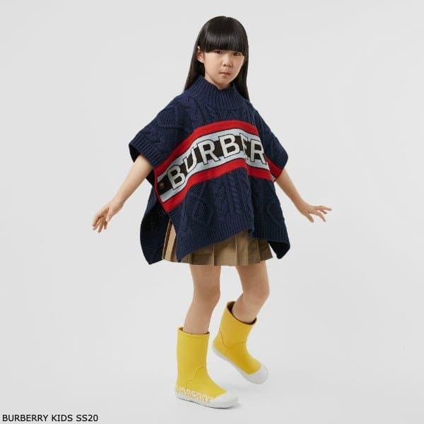 Burberry Kids Logo Panel Cable Knit Wool Cashmere Poncho