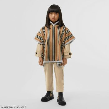 Burberry Kids Reversible Icon Stripe Merino Wool Hooded Poncho