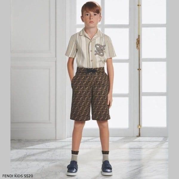 Fendi Boy Beige Linen Striped Shirt Brown FF Logo Shorts