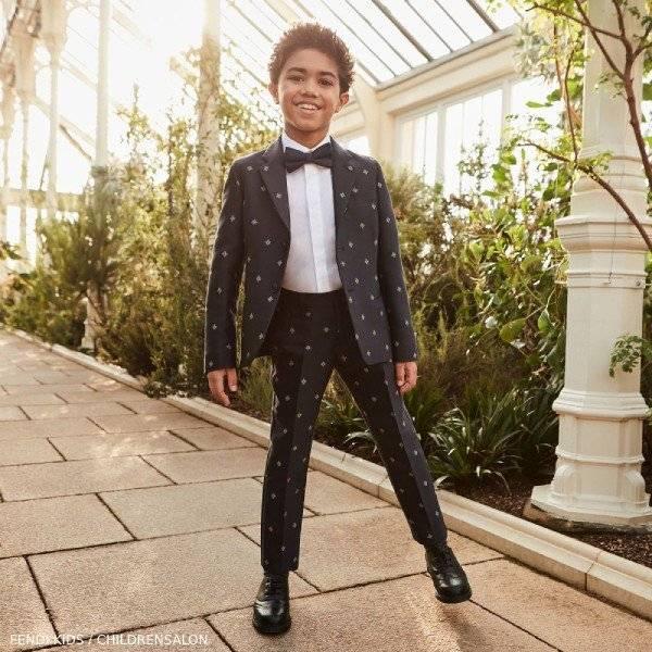 Fendi Boy Navy Blue FF Logo Cotton & Wool Blazer Jacket & Dress Pants