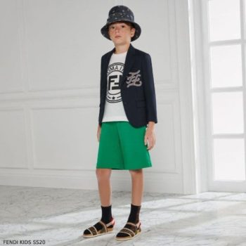 Fendi Boys Navy Blue Wool Blazer Jacket Green Shorts