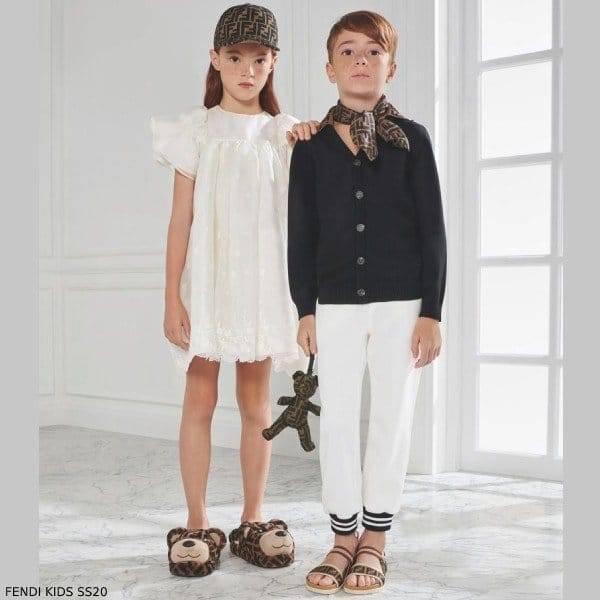 Fendi Girl White FF Logo Tulle Dress