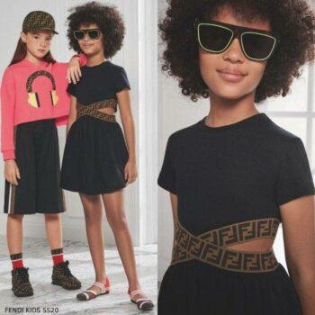 Fendi Girls Black & Beige FF Logo Cut-Out Waist Dress