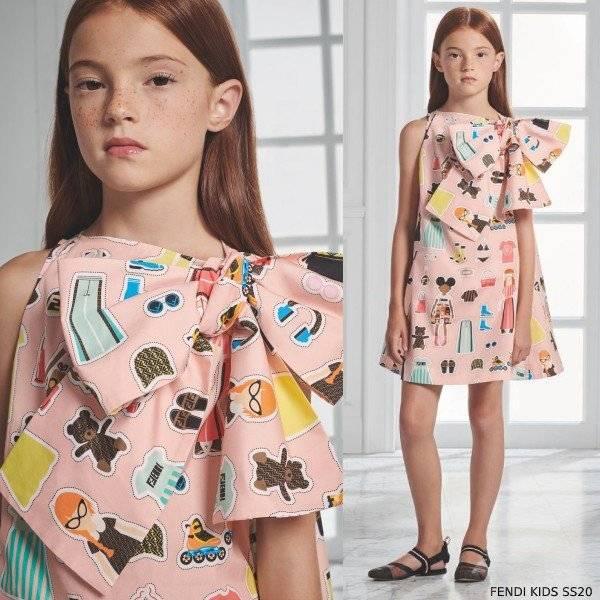Fendi Girls Pink FFriends Print Sleeveless Side Bow Dress