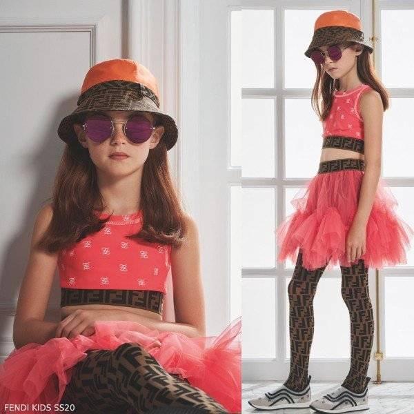 Fendi Girls Pink Logo Crop Top Tulle Tutu Skirt FF Waist