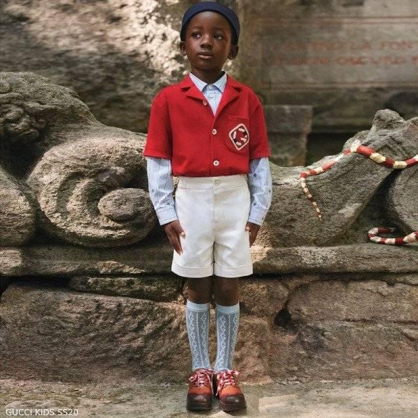 Gucci Boys Mini Me Red G Polo Blue Cotton Bee Stripe Shirt