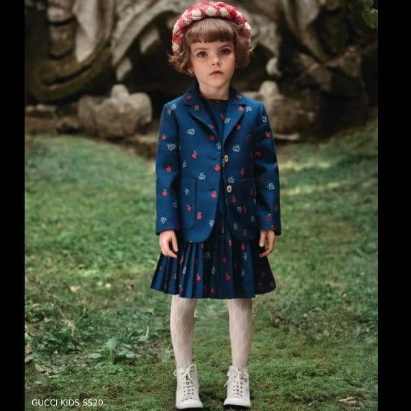 Gucci Girl Mini Me Blue GG Apple Print Dress Jacket