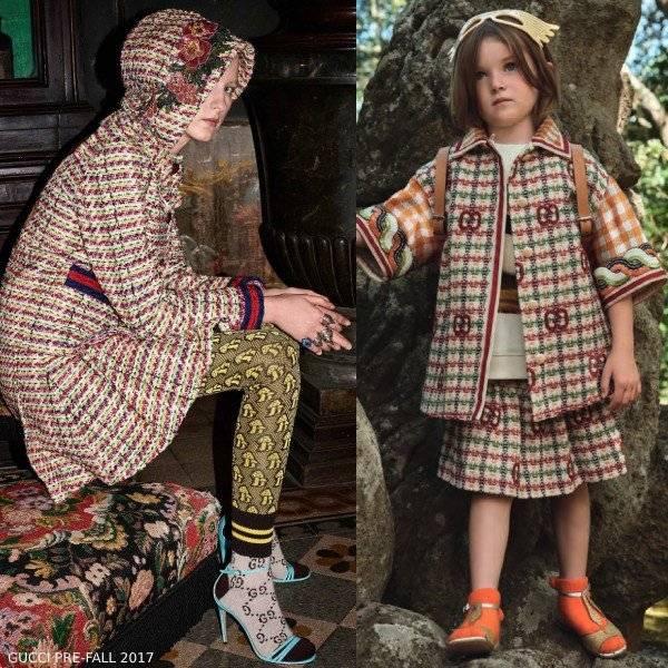 Gucci Girl Mini Me Ivory Green Wool GG Tweed Coat Skirt
