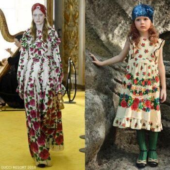 Gucci Girl Mini Me Ivory & Pink Flower Print Dress