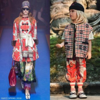 Gucci Girl Mini Me Ivory Red Blue Wool GG Tweed Vest Orange Eagle Print Silk Pants