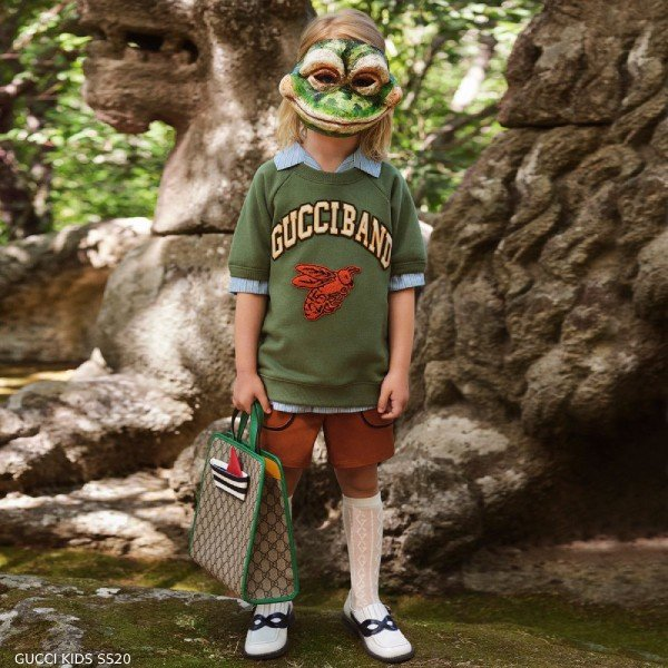 Gucci Kids Mini Me Green Gucci Band Short Sleeve Sweatshirt