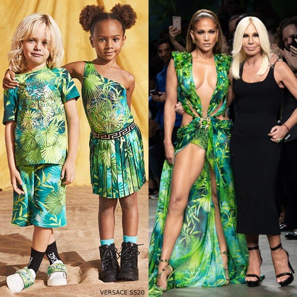 Jennifer Lopez - Young Versace Mini Me Green Jungle Print Swimsuit Skirt