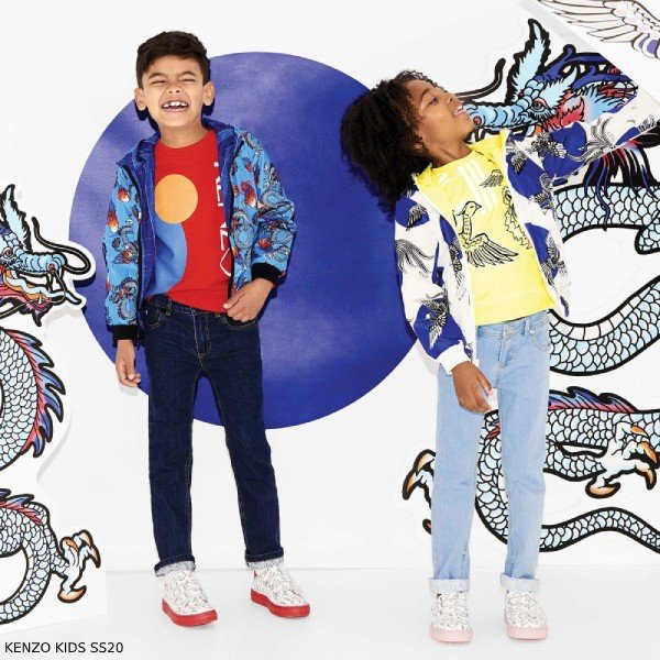 Kenzo Kids Blue Dragon Reversible Jacket & Red Logo Sweatshirt