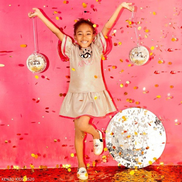 Kenzo Kids Girl Gold Metallic Twill Eye Logo Dress