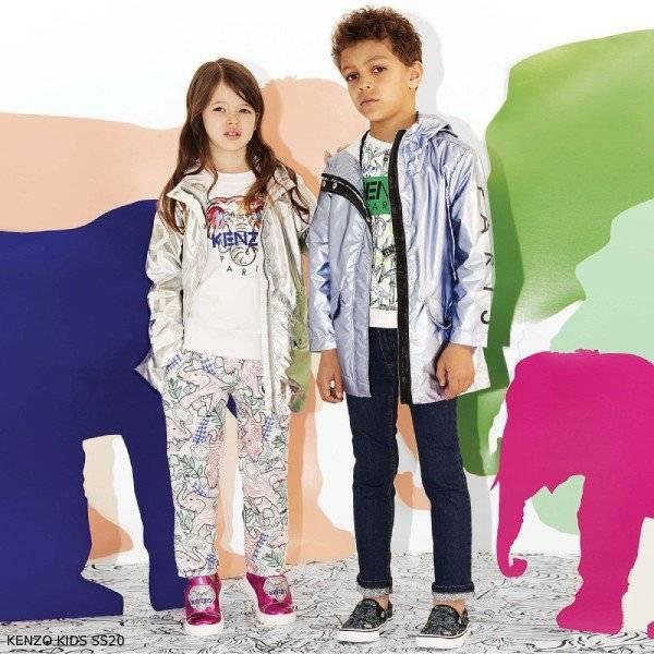 Kenzo Kids Metallic Silver Logo Coat & White Elephant Logo Sweatshirt