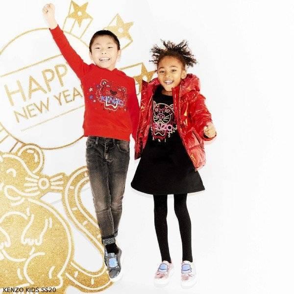 Kenzo Kids Red Tiger Logo Sweatshirt & Metallic Down Jacket