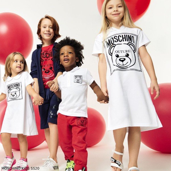Moschino Girl Mini Me White Teddy Bear Couture Logo Dress