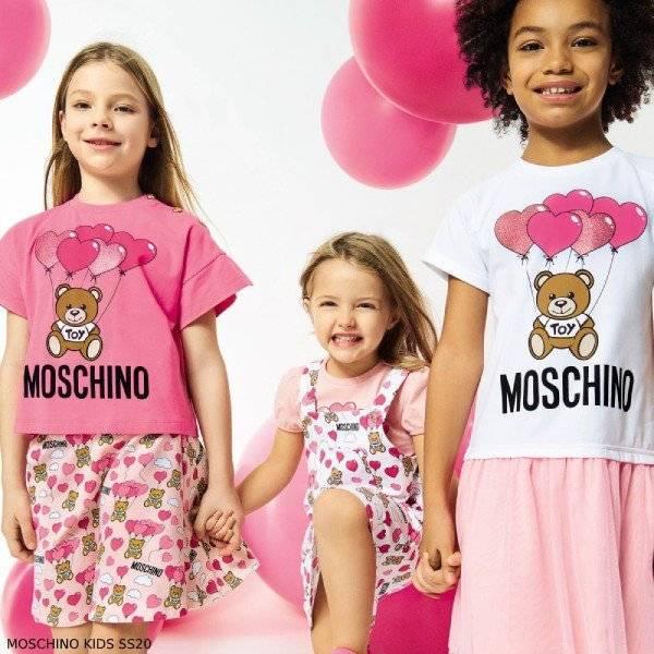 Moschino Girl Pink Bear Balloon Heart Logo T-shirt & Print Skirt