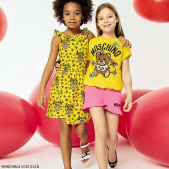 Moschino Girl Yellow Beige Teddy Bears Logo Butterflies Dress