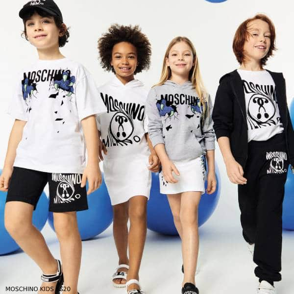 Moschino Kids Mini Me Grey Maxi Logo Hoodie Sweatshirt & Skirt