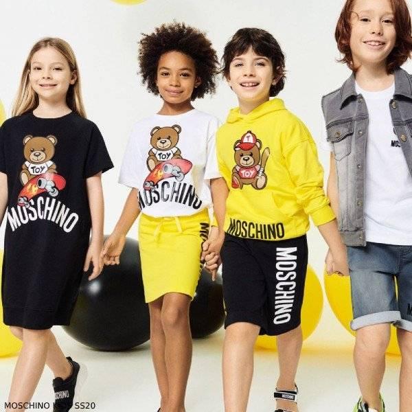 Moschino Kids Mini Me Yellow Teddy Bear Baseball Toy Sweatshirt