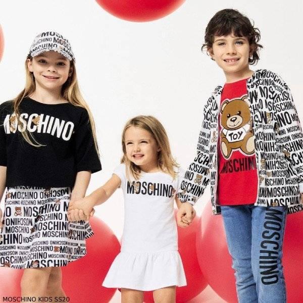 Moschino Kids Mini Me White Black Logo Hooded Jacket & Skirt