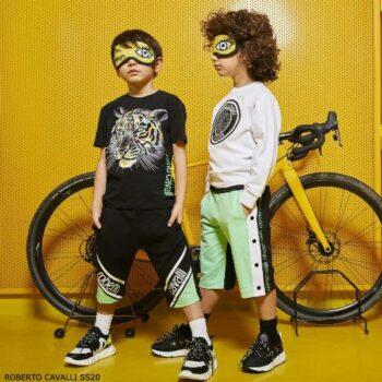 Roberto Cavalli Boys Black Cotton Tiger T-Shirt & Green Logo Shorts