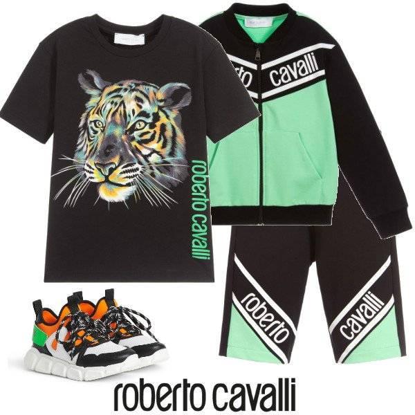 Roberto Cavalli Boys Black Cotton Tiger T-Shirt & Green Logo Shorts Spring 2020