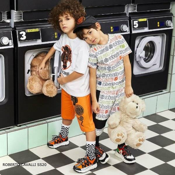 Roberto Cavalli Boys White Cotton Logo Print T-Shirt Shorts