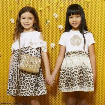 Roberto Cavalli Girls Gold & White Leopard Print Logo Dress