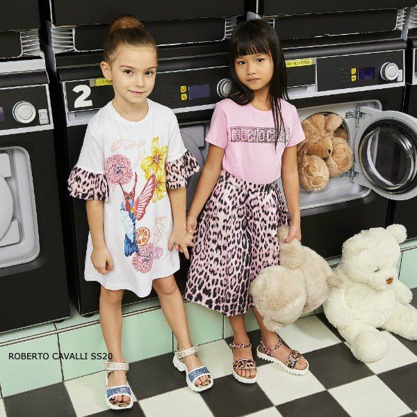 Roberto Cavalli Junior Girls Pink Heritage Jaquar Leopard Print Skirt & Pink Logo T-shirt