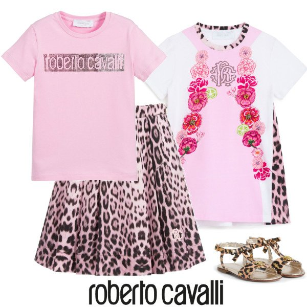 Roberto Cavalli Junior Girls Pink Heritage Jaquar Leopard Print Skirt & Pink Logo Tshirt
