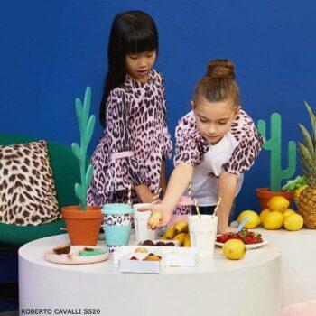 Roberto Cavalli Girls Pink Heritage Jaguar Leopard Print Dress Tights Spring 2020