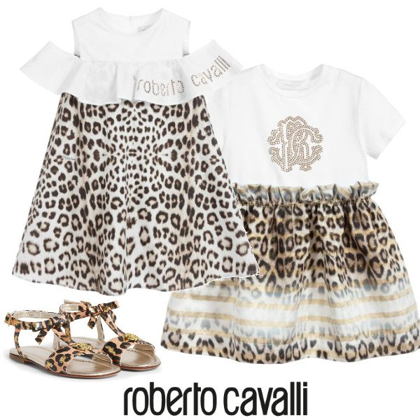 Roberto Cavalli Girl White Gold Leopard Print Dress