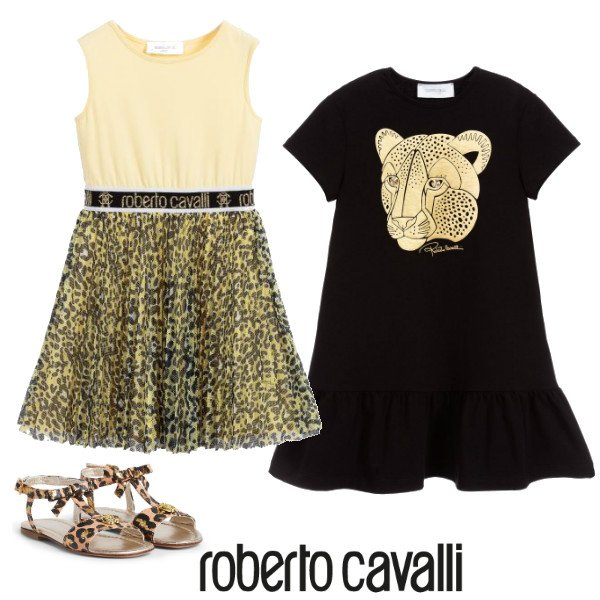 Roberto Cavalli Girl Yellow Leopard Print Black Gold Logo Dress Spring 2020