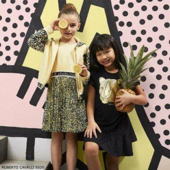 Roberto Cavalli Girls Yellow Leopard Print Dress & Black Gold Dress